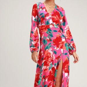 Lulus Carolita Magenta Floral Long Sleeve Maxi